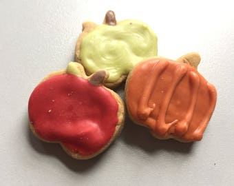 Mini Fall Apples and Pumpkins Treats - Set of 12 Mini Treats - Apples - Pumpkins - Peanut Butter - Mix and Match