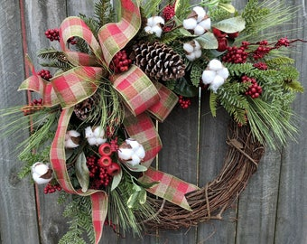 Holiday / Christmas Wreath / Grapevine Berry Wreath with Rustic Plaid / Natural Christmas Wreath / Horn's Handmade / Christmas Decoration