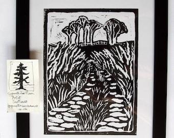 Lon Werdd, Green Lane,Talybont handmade linocut print