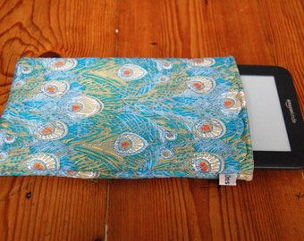 "Handmade Kindle 6"" or Paperwhite Cover Sleeve Liberty in Hera Tana Lawn Fabric"