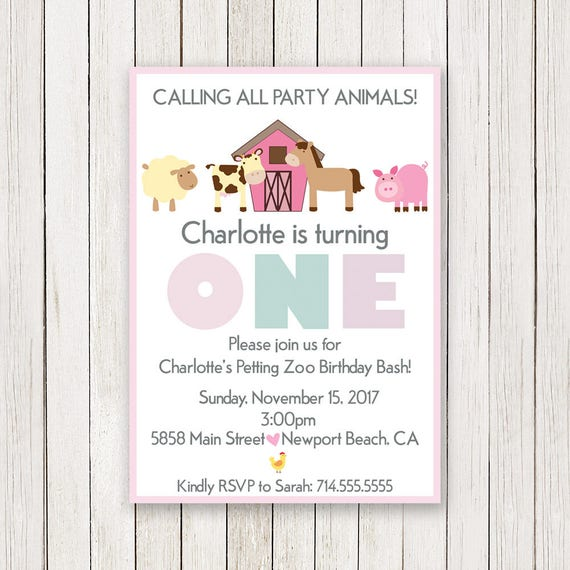 Girl Barnyard Birthday Invitation Petting Zoo Invite Girl Bday