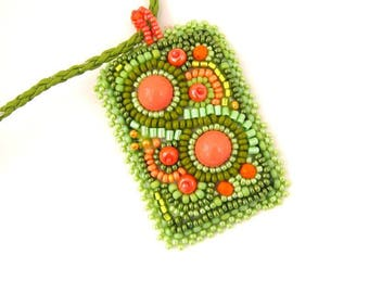 Summer Green necklace Bead embroidered pendant  Green jewelry Seed beads necklace, Green and orange pendant, Gift's for her