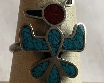 Sterling Silver Turquoise And Coral Phoenix Ring-Size 7
