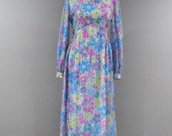 Vintage Prairie Dress Womens Size 10 12 Maxi Long Sleeve Floral Modest