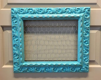 Distressed Aqua Ornate Wood Frame Chicken Wire Jewelry Display Memo Board Photo Display--Farmhouse Wall Kitchen Decor-Upcycled Frame