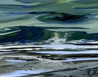Edmonds Surf Study III - Framed Original Plein-air Altoid Tin Oil Painting on Canvas - 2x3 Inches Square