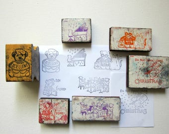 DESTASH- 6pc TEDDY BEAR  Rubber Stamp Mix, Pre-used