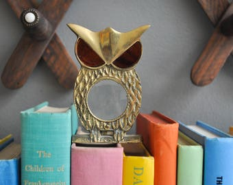 Vintage Brass Owl Magnifying Glass