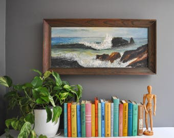 Vintage Original Signed Breaking Waves Oil Painting - Oil on Canvas Framed Painting
