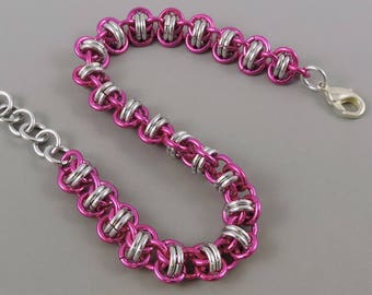 Pink Chainmaille Bracelet, Barrel Weave Chainmail Bracelet, Chain Mail Jewelry, Pink Bracelet