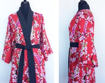 100% Luxury Cotton In Red With Cherry Blossoms - Limited Edition