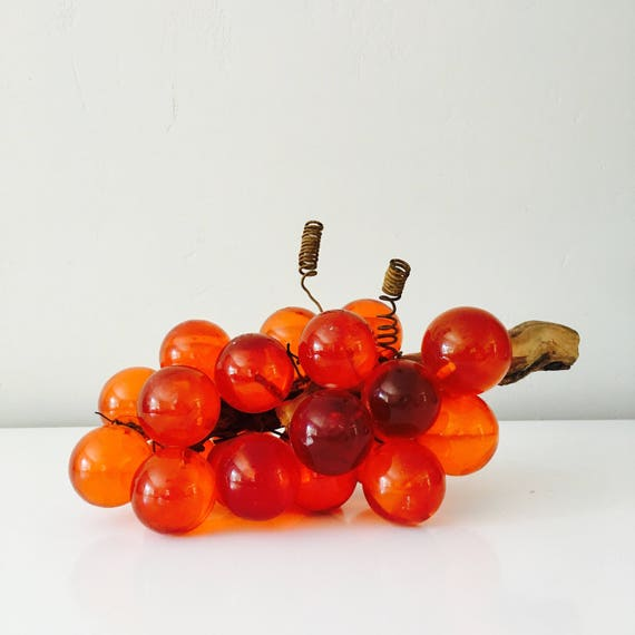 Orange Mid Century Modern Glass Grapes Hand Blown Vintage Glass Wood Stem