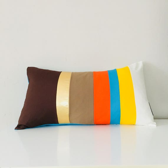 "SALE Brown Beige Orange Striped Pillow Cover 14""x24"" Lumbar Cushion Cover Turquoise Yellow Color Block Pillow Metallic Gold"