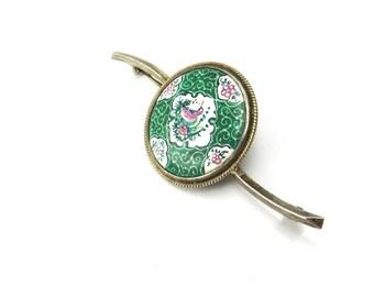 Vintage Persian Enamel Brooch Hand Painted Silver Bird Brooch Flower Brooch Bird Pins Ethnic 1940s Jewelry