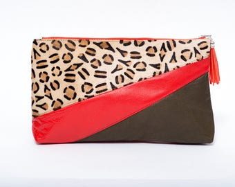 Evening red and leopard printed leather bag, chic fur, leather clutch bag kaki and red lamb leather pouche/ green leather purse /gift idea