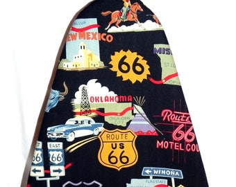 Tabletop Ironing Board Cover - Route 66 Fabric - Texas Arizona California - Laundry and Housewares