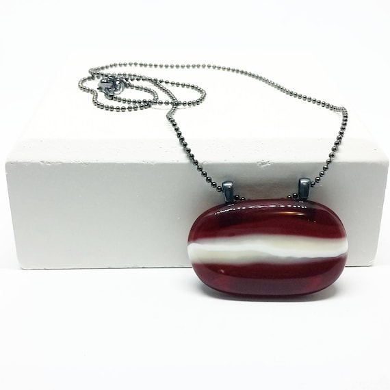 Garnet Striped Glass Pendant with Chain