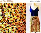 1/2 Off SALE 60s Wrap Skirt, Yellow Print, Skirt, Polyester Skirt
