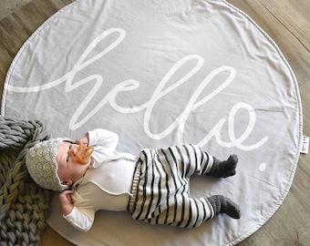 Round Play Mat - Cool grey Gender neutral unisex - Tummy time - Handmade - 'hello' Roundie - New baby photo prop
