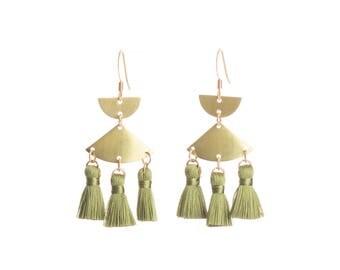 Tassel earrings - Khaki chandelier tassel earrings - Mini tassell - Nickel free gold hooks + brass mini tassel earrings - Khaki accessories