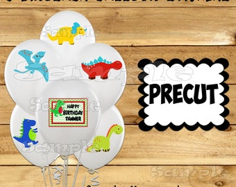 Dinosaur Balloon Stickers Labels Party favors cup stickers goodie bags decorations supplies Dinosaur Birthday balloons Precut Personalized