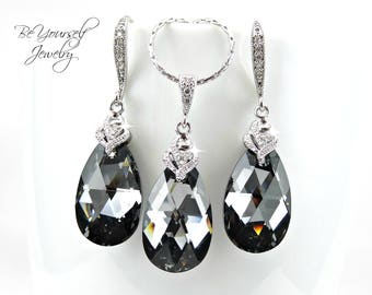 Dark Grey Bridal Earring Charcoal Teardrop Bride Necklace Swarovski Crystal Silver Night Wedding Jewelry Gray Black Bridesmaid Gift Zirconia