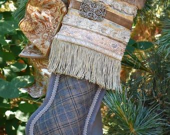 Vintage Gold Christmas Stocking/Christmas Stocking