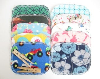 "Reusable Cloth Wipes--Mini Size--Makeup Removal--Set of 10--LIMITED EDITION--""Flip Flopped""--Total Print Mix--Ready to Ship"