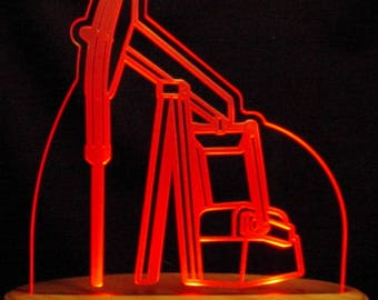"Oil Rig Pump Jack Acrylic Edge Lit Lighted 13"" Led Sign Made in the USA"