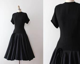 vintage 1950s dress // 50s black acetate evening dress