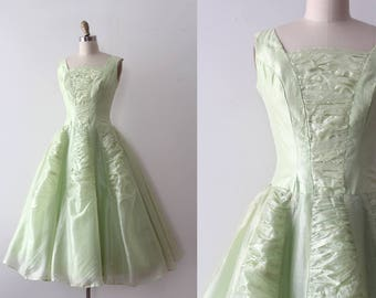 vintage 1950s dress // 50s green party dress