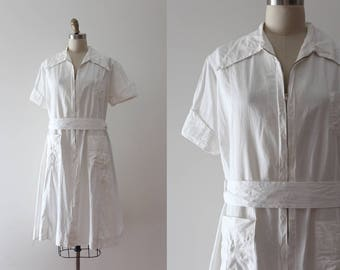 vintage 1930s nurse dress // 30s 40s white nurse uniform