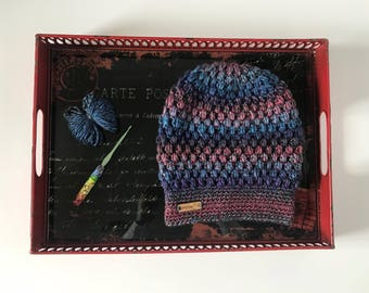 Handmade crochet puff stitch slouchy beanie