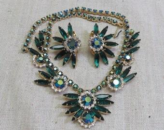 Juliana Style Green Rhinestone Necklace Set, Clip Earrings