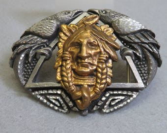 Vintage Pewter and Gold Plate Indian Head Belt Buckle, EJC 1995