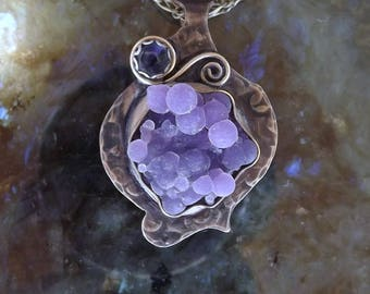 Grape Agate- Lavender Botryoidal- Cluster of Grapes- Smoky Bronze Freeform- Purple Metal Art Pendant