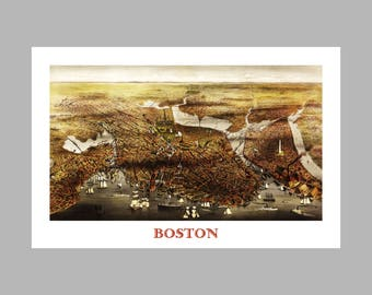 Boston - Map - East Harbor View - Panoramic-  Birds Eye View-  Map of Boston - Print - Poster