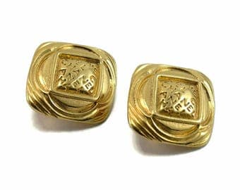 Vintage Early 1980s CHANEL Classic Logo Clip Earrings AUTHENTIC!