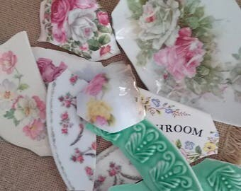 Vintage Broken China Shards, Large Pieces of Broken China, Assemblage, Mosaic Projects, Crafts, Vintage China Bits, Broken China Bits