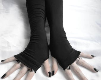 Black Armwarmers Thumb hole Fingerless gloves emo armwarmer arm warmer fusion dancing renaissance medieval unisex steampunk vampy sleeves