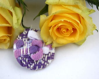 Hand-woven pastel and textural brooch