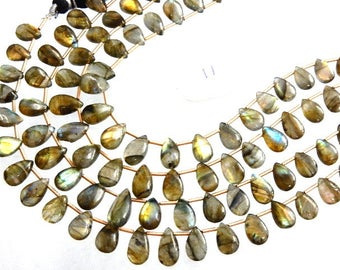4Strands Labradorite Beads  Multi Fire Smooth Briolette Pear Drops  AA Quality Size 7x10-7x15MM Approx 8''