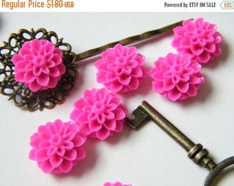ON SALE 12 x Bright Pink Chrysanthemum Mum Resin Flower Resin Cabochon Cameo for Bobby Pins and Rings 15mm