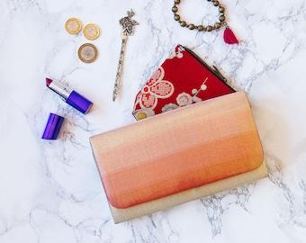 Peach Womens Wallet, Gold Clutch Bridesmaid Gift, Metallic Foldover Clutch, Vintage Japanese Kimono Silk Evening Bag, Bridal Bag For Wedding