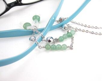 Eyeglass holder chain, Aventurine gemstone eyeglasses chain, Mom gift, eyeglass chain