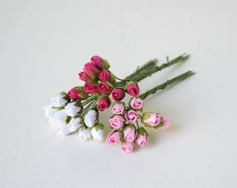 8  mm /   30  White , Pink , Hot Pink  Paper Rose buds