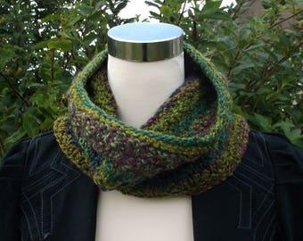 Unisex handknitted neckwarmer / cowl / infinity scarf. Green red and blue  OOAK