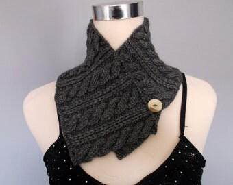 Cabled grey handknitted neckwarmer / cowl / infinity scarf.