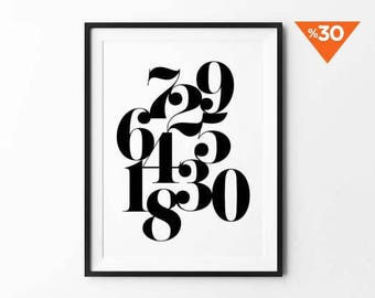 Numbers Print, Typography Wall Art, Numerology Print, Home Decor, Scandinavian Art, Black and White, Minimalist Decor, Number