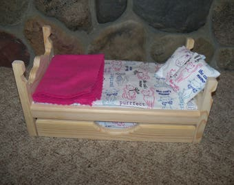 """Doll Bed & Trundle 12 pc set fits 14"""" to 18"""" dolls American Girl Wellie Wishers R, Doll Bed"""